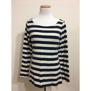 Banana Republic Blue/Cream Striped Sweater Medium
